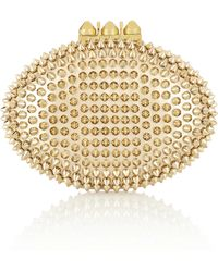 Christian Louboutin Mina Spiked Metallic Leather Clutch - Lyst