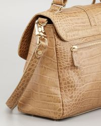 Tory Burch 797 Crocodile-embossed Medium Satchel Bag Taupe - Brown