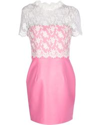 Valentino Contrast Lace Dress pink - Lyst