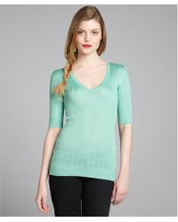 M Missoni Mint Ribbed Cotton Blended Knit Vneck Sweater Top - Lyst