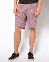 Ben Sherman Shorts in Gingham Print - Red