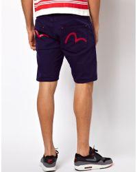 Evisu Shorts Nagahama 5 Pocket Painted Back Pocket - Blue