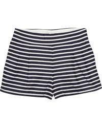 J.Crew Striped Linen and Cottonblend Shorts - Blue