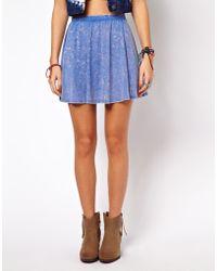ASOS Collection Skater Skirt in Acid Wash blue - Lyst
