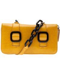 Jil Sander Navy Zip Wallet - Yellow