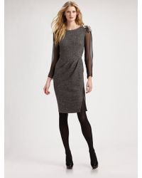 Alberta Ferretti Embellished Shoulder Tweed Dress - Lyst