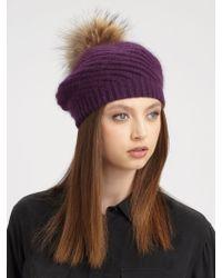 Annabelle New York - Holly Raccoon Fur Pompom Knit Hat - Lyst