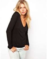 ASOS Collection Asos Top with Long Sleeves and V Neck - Lyst