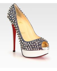 Christian Louboutin Lady Studded Lamé Metallic Leather Platform Pumps - Lyst