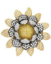 CZ by Kenneth Jay Lane Flower Crystal Brooch - Metallic