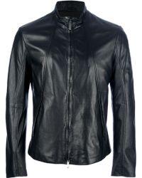 Emporio Armani Classic Leather Jacket - Lyst