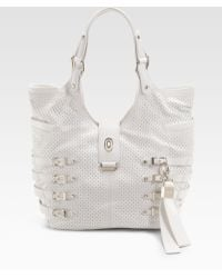 Jimmy Choo Perforated Nappa Leather Tote - Lyst