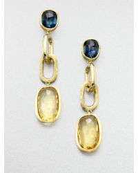 Marco Bicego Murano Blue Topaz, Citrine & 18K Yellow Gold Link Drop Earrings - Lyst