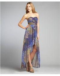Max & Cleo - Blue and Green Peacock Print Crinkle Chiffon Chloe Dress - Lyst