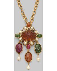 Oscar de la Renta Semiprecious Multistone and Baroque Pearl Necklace - Lyst