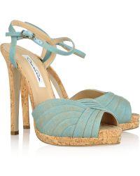 Oscar de la Renta Avani Linen and Cork Platform Sandals - Blue