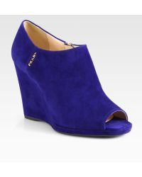 Prada Suede Wedge Ankle Boots - Blue