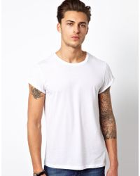 Asos T-Shirt With Crew Neck And Roll Sleeve - Lyst