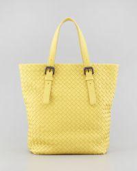 Bottega Veneta Small Woven Leather Box Tote Bag Yellow - Lyst