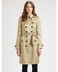 Burberry Wadefield Metallic-jacquard Trench-coat - Lyst