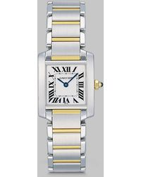 Cartier Tank Francaise Stainless Steel 18k Yellow Gold Watch On Bracelet Small - Lyst