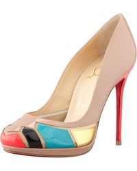 Christian Louboutin Astrogirl Patent Patchwork Red Sole Pump - Lyst