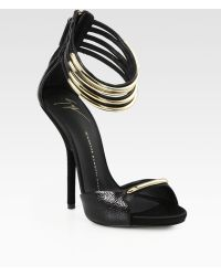 Giuseppe Zanotti Reptileprint Leather Metal Ankle Strap Sandals - Lyst