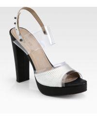 L'Agence Lauren Snakeembossed Leather Platform Sandals - Multicolor