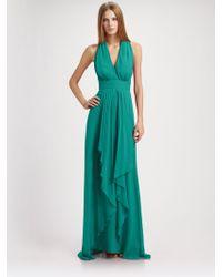 Nicole Miller Silk Chiffon Halter Gown - Lyst