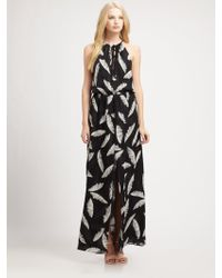 Parker Featherprint Silk Maxi Dress - Lyst