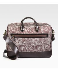 Robert Graham Everett Leather-Trimmed Paisley Fabric Briefcase - Lyst