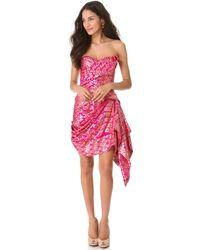 Marchesa Strapless Sari Cocktail Dress - Lyst