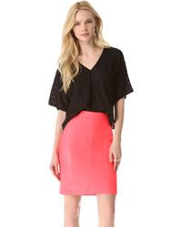 MILLY Lucia Cropped Chevron Top - Black