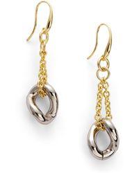 1AR By Unoaerre - Twotone Twisted Link Earrings - Lyst