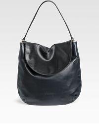 Jil Sander Contrast Fold Flap Small Leather Hobo - Blue