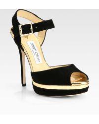 Jimmy Choo Pavlova Suede Metallic Leather Platform Sandals - Lyst