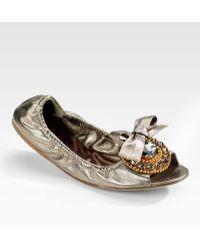 Miu Miu Crystalcoated Metallic Leather Ballet Flats - Lyst
