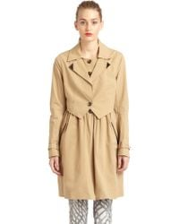 Rebecca Minkoff Pierre Leather Detail Cotton Long Trenchcoat - Natural