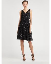 Teri Jon Silk Chiffon Dot Dress - Lyst