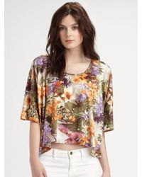 Torn Tropical Print Scarf Tee - Multicolor