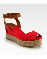 Tory Burch Karissa Canvas Leather Espadrille Wedges - Red