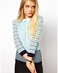 ASOS - Striped Collared Jumper - Lyst