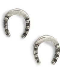 Giles & Brother Tiny Horseshoe Earrings - Metallic