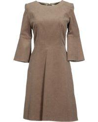Goat Crew Neckline Khaki Short Dress - Natural