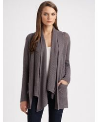 James Perse Openstitch Drapefront Cardigan - Lyst