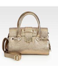 Jimmy Choo Rosalie Glitter Leather Satchel - Lyst