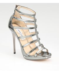 Jimmy Choo Strappy Mirrored Leather Sandals - Lyst