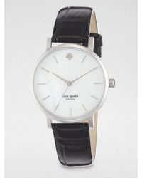 Kate Spade Metro Stainless Steel & Alligator-Embossed Leather Strap Watch - Lyst