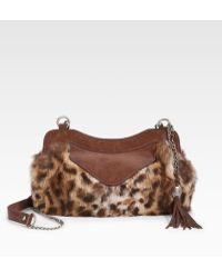 Olivia Harris Zip Pocket Fur Frame Clutch - Multicolor