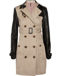 W118 by Walter Baker Theo Brushed Cotton and Faux Leather Trench Coat - Lyst
